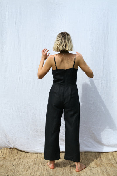 Black Fitted Strappy Jumpsuit