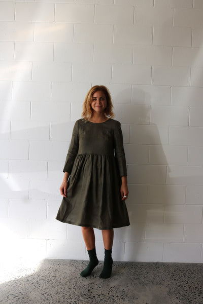 Olive Scrunchie Dress