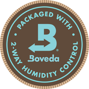 Packaged with Boveda label