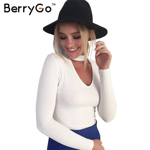 Halter knitted sweater  sexy pullover v neck long sleeve sweater