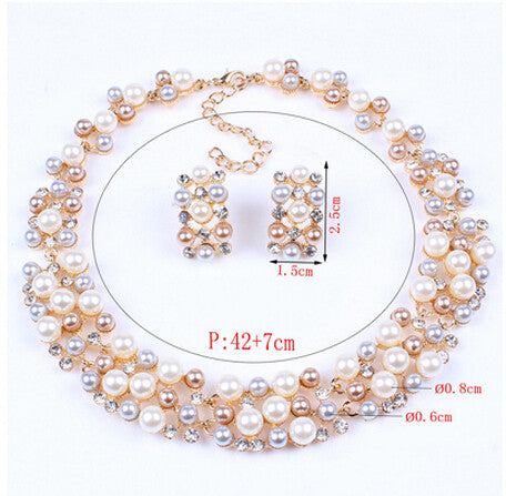 Simulated-pearl Necklace & Earrings