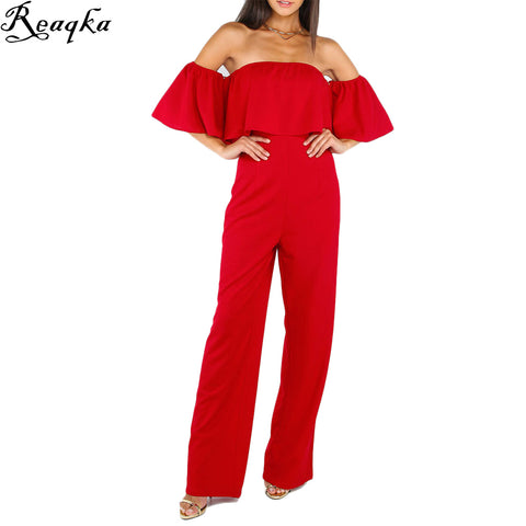 Ruffle Elegant Rompers Jumpsuit Off The Shoulder Bodysuit