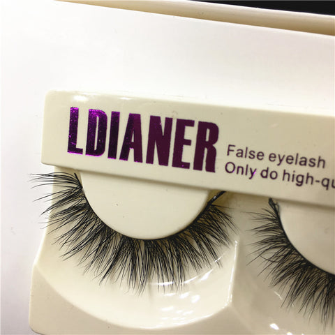 1Pair New Real Mink Natural Long Black False Eyelashes