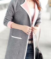 All-match Patchwork Full sleeve Slim Pocket Knitted Cardigan Sweater M-XXXL