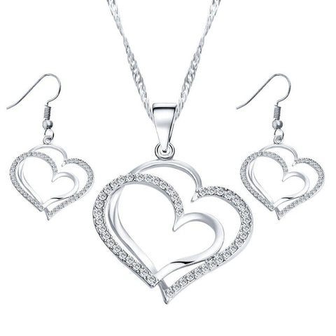 17KM Romantic Heart Pattern Crystal Earrings Necklace Set