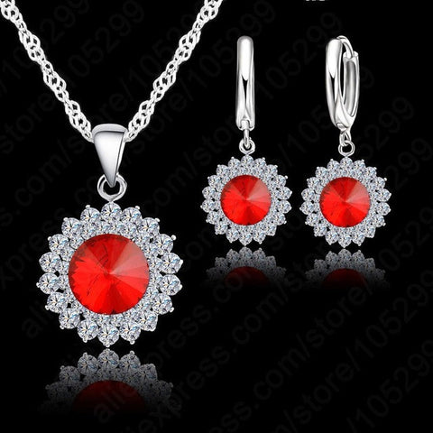 925 Pure Silver Crystal Necklace,Pendant & Earrings