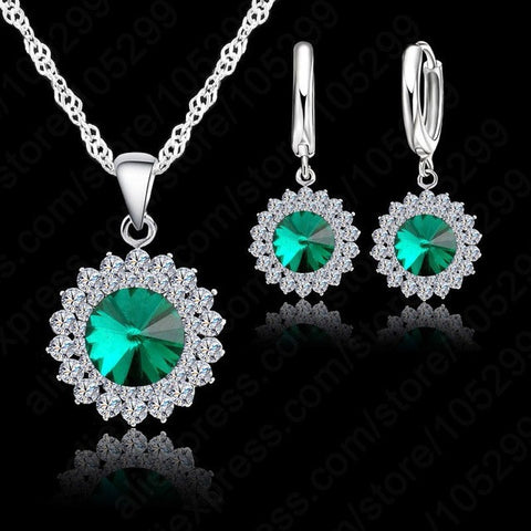 925 Pure Silver Crystal Necklace,Pendant & Earrings Green