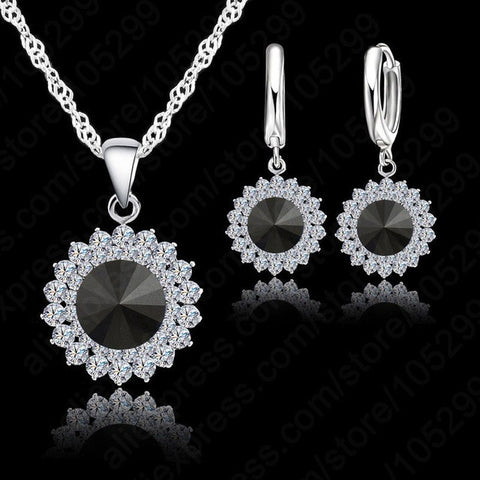 925 Pure Silver Crystal Necklace,Pendant & Earrings Black