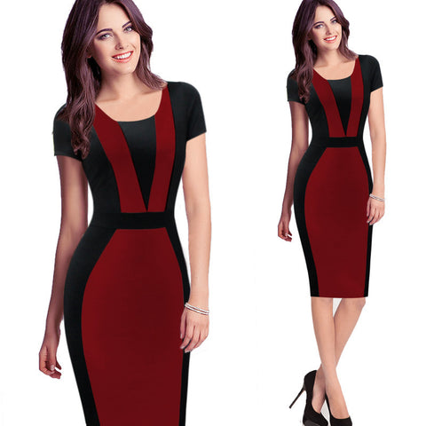 Short Sleeve High Waist Patchwork Sexy Stretch Bodycon Pencil Dress