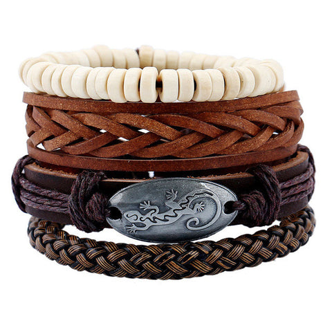 4pcs/set Handmade Rope Leather Bracelet Charm Wrap Bracelets