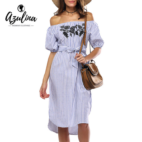 Off the Shoulder Floral Embroidery Sexy Midi Dress
