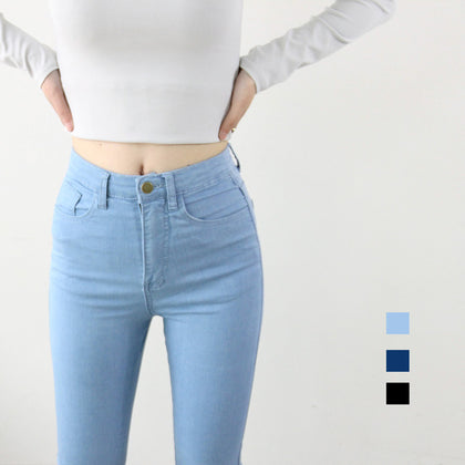 High Waist Elastic Jeans  American Style Pencil Denim Pants