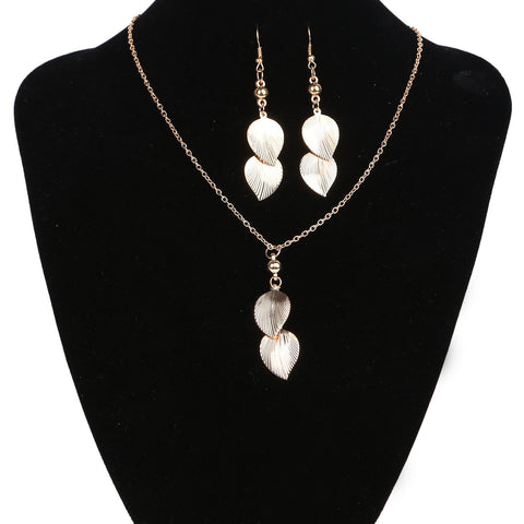 Gold Leaf Crystal Drop Earrings & Necklace