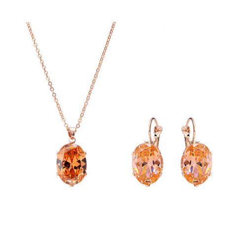 Zircon Rust Stone Pendant Choker Necklace & Earrings
