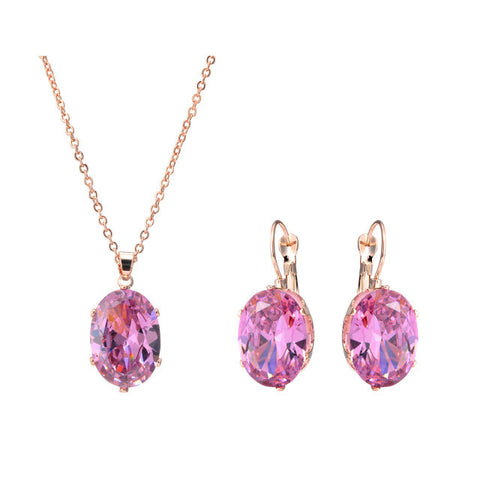 Zircon Pink Stone Pendant Choker Necklace & Earrings