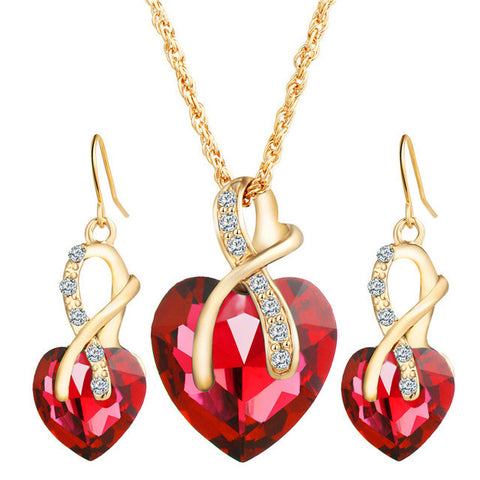 Gold Color Love Crystal Heart Necklace & Earrings RED