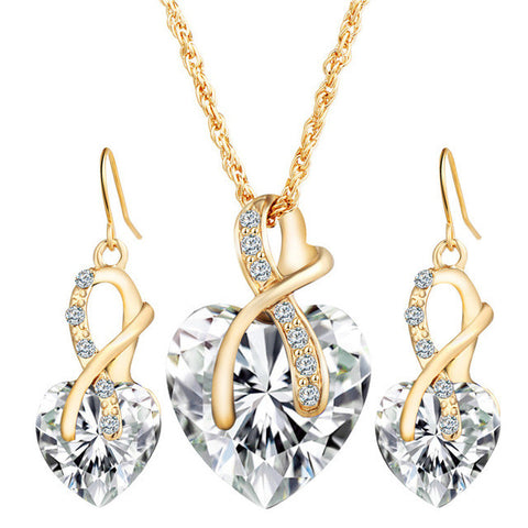 Gold Color Love Crystal Heart Necklace & Earrings White