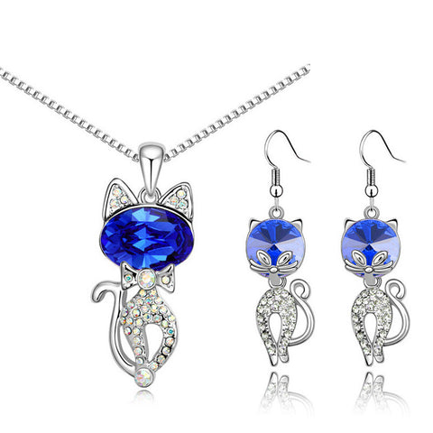 Catty Crystal Pendant Necklace & Earrings