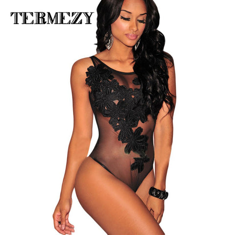 Hot Bodysuit Jumpsuit Sexy Rompers Floral Embroidered Bodysuit