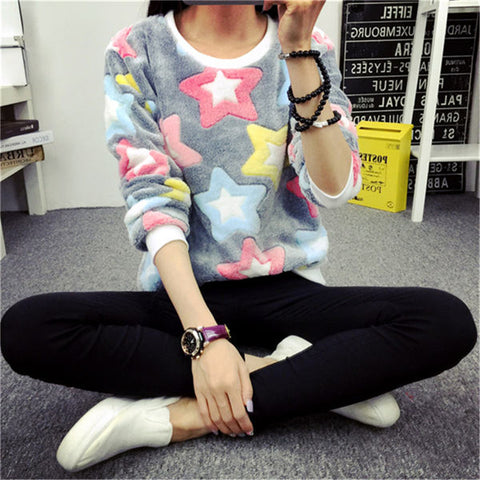 Stars Print Jumper High Elastic Knit Sweater