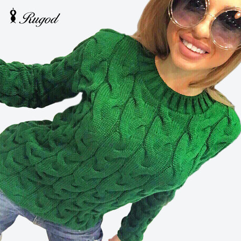 Knitted  Long Sleeve O-neck Sweaters