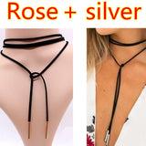 2PCS 2017 New choker necklace black leather punk Long Rope chain collier