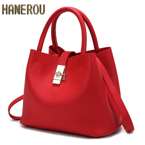 Handbags High Quality PU Leather Ladies Bucket Casual Tote