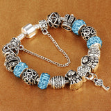 Authentic Silver Plated 925 Crown key Crystal BLUE Heart Charm Beads  Original Bracelet