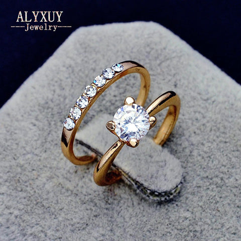 New gold color  CZ zircon finger ring wedding gift set