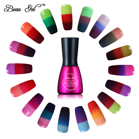 Beau Gel 7ml Gel varnish Nail Gel Polish Chameleon Temperature Color mood Changing