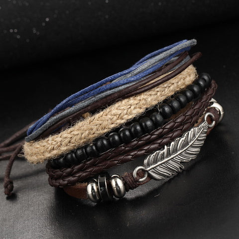 1Set Multilayer Leather Bracelet Men's Punk Rock Wood Bead Bracelets