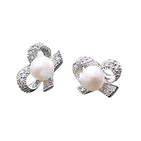 Bow Shaped Simulated Pearl Earrings