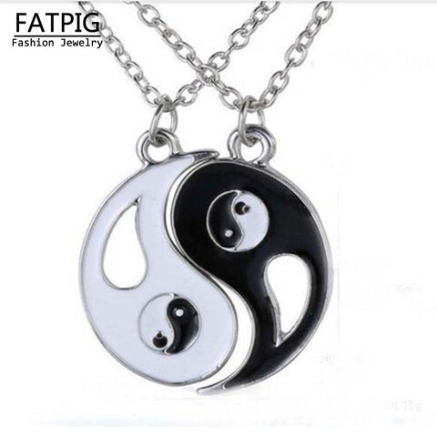 Charm Lovers Necklace Hot Yin Yang Pendant Black White