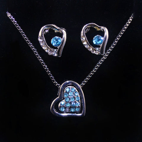 2017 new austrian crystal Love Heart Pendant Necklace earrings sets