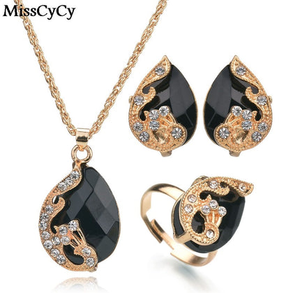 Water Drop Crystal Necklace Ring Earrings BLACK Peacock  Set
