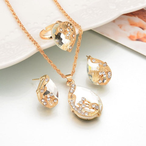 Water Drop Crystal Necklace Ring Earrings WHITE Fashion Gold Color Peacock