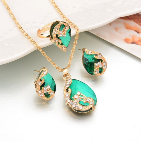 Water Drop Crystal Necklace Ring Earrings GREEN Fashion Gold Color Peacock