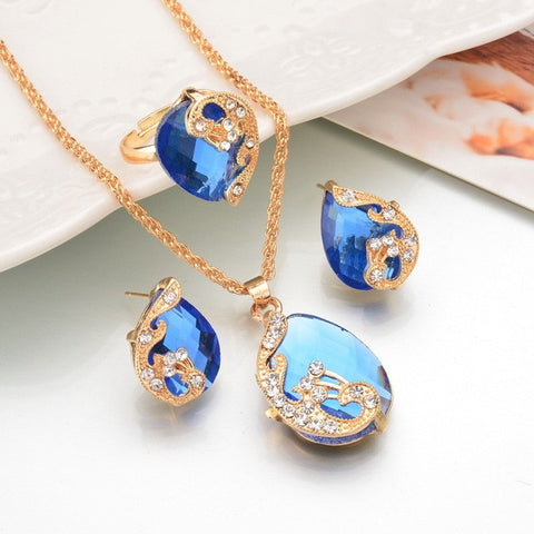 Water Drop Crystal Necklace Ring Earrings BLUE Fashion Gold Color Peacock  Set