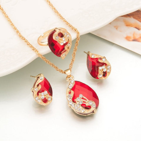 Water Drop Crystal Necklace Ring Earrings RED Fashion Gold Color Peacock  Set