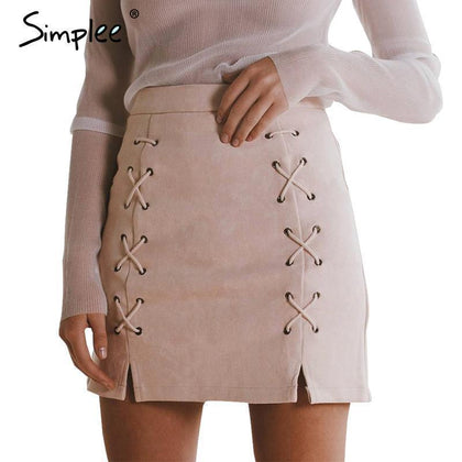 High Waisted Pencil Skirt Bodycon Suede Leather Mini Skirt