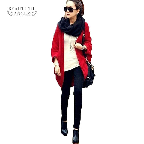 Casual Korea Loose Shawl Batwing Sleeves Knit Sweaters Coat