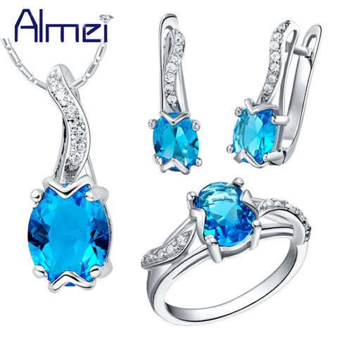 Blue Cubic Zirconia Jewelry Set