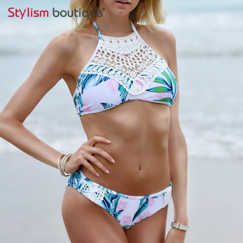 Sexy Halter Crochet Bikini High Neck Swimsuit