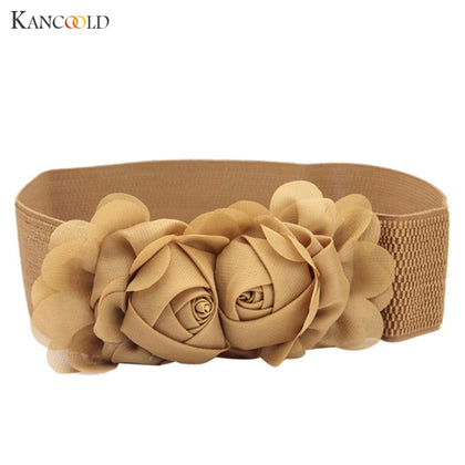 Double Solid Rose Flower Buckle Elastic Wide  Belt