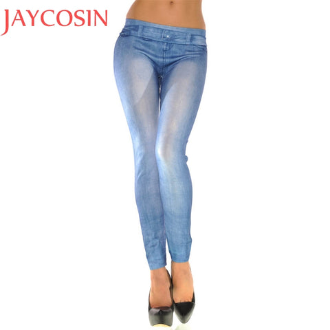 Casual Lady Denim Pants Pencil Skinny Tights Trouser Full Length Stretch