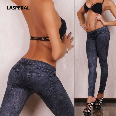 Seamless Jeans Denim Skinny Pants Faux Jeans
