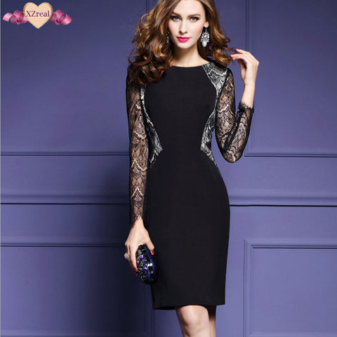 Elegant Bodycon Lace Patchwork High End O Neck Pencil Dresses