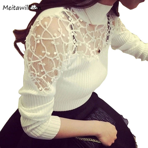 Turtle Neck Lace Knitted Pullover