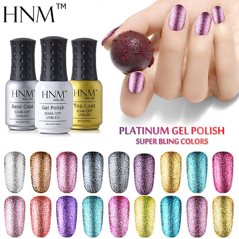 HNM Super Bling Gel Nail Polish 8ML UV Nail Gel Polish Platinum GelLak Glitter