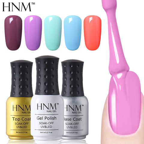 HNM 8ml UV Gel Nail Polish Pure Color Nail Gel Lacquer